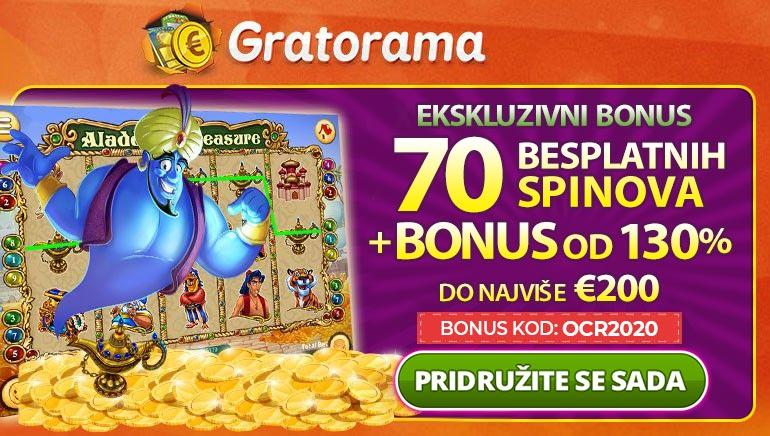 Preuzmite 130% do €200 & 70 besplatnih spinova u Gratorama Casino