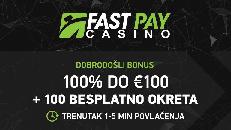 €100 Bonus & 100 Besplatnih Spinova za nove FastPay Casino igrače