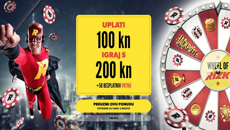 Rizk Kasino Hrvatska novim igračima želi dobrodošlicu sa 100% do 1.000 HRK + 50 besplatnih spinova